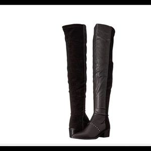 Report Zaria Over The Knee Black Leather Boots